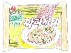 キムがパム島で発見した「ジャパゲティ」の袋。「辛ラーメン」の農心が販売するインスタントの炸醤麺である。