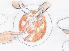 「ミックス。」より。フラワー卓球クラブの面々は大皿に盛られた激辛麻婆豆腐を取り分けて食べる。