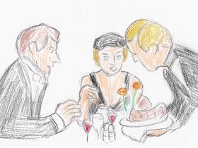 「炎のランナー」より。ユダヤ人のハロルドが女優のシビルと行ったレストランで出てきたのは豚の足の料理だった。
