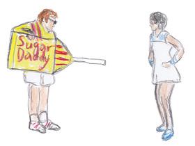 「シュガーダディ」のスポンサードを受けたボビー・リッグス(左)は、黄色と赤のパッケージカラーに身を包んでビリー・ジーン・キングとの性差を超えた戦いに挑むが……。