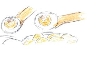 パーニープーリーの屋台では一つ食べるごとにわんこそばのように替え玉が追加されていく。