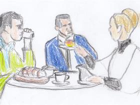 イギリス人のウィリアムとクリスチーヌ、アメリカ人のスティーヴのルームシェア生活。朝食もイングリッシュ・マフィンとマーマレードにコーヒーがつく英米折衷風。