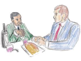 フランクとラッセルは一つのパンを分け合い、赤ワインに浸して食べる。