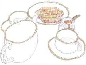ノラのオフィスで出されたマヌカハニー付きの紅茶とビスコッテイ。