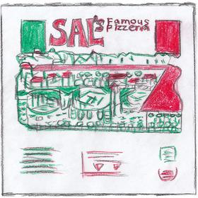 ムーキーが配達する「サルス・フェーマス・ピザ」の箱。イタリア国旗の赤・白・緑をモチーフにイタリアの古い街並みが描かれている。