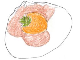 玉子の黄身の味噌漬け「鼈甲珠」。澪が親友の野江(あさひ太夫)を守るために作った勝負料理である。