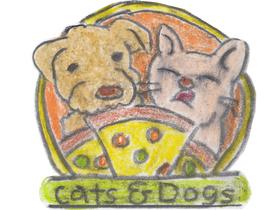 「キャッツ&ドッグス」のロゴマーク。犬も猫も笑顔にさせてしまうほどおいしいというのが表向きの店名の由来だが、本来の英語の意味は「土砂降り」である。