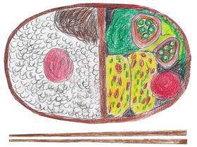 虹輝がクラスメートと仲良くなるきっかけとなったお弁当。卵焼きの具材は紅しょうがとネギ。