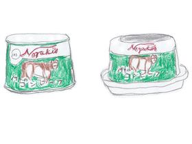 従来の巻取り方式の枕缶(左)と新パッケージのアルミック缶(右)