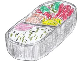 「破」でシンジがアスカに作った弁当。たこさんウインナー、コロッケ、だし巻き卵、サラダスパゲティ+ブロッコリー+プチトマト、ふりかけごはんという内容。レイ用はたこさんウインナー抜きと思われる。