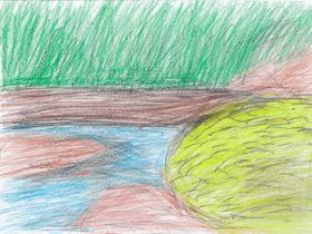 ソンジャが農場近くの森の中を流れる小川のほとりに植えたミナリ(セリ)の畑。