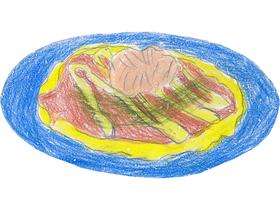 高津農園のガーデンパーティーの場面に登場した加賀れんこんのお好み焼き。