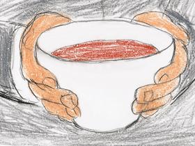 養老院でムルソーに出された丼サイズのカフォオレボウル。フランスでは一般的なカフェオレ用の器である。