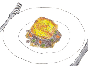本作のキーフードである「シェパーズパイ」。アーヤにとって特別な料理である。