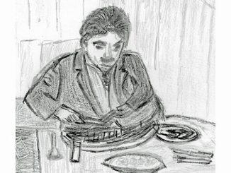 「黄金狂時代」(1925)。靴を食べるチャップリン(絵・筆者)