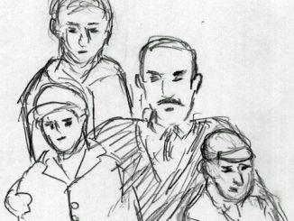 「ゴッドファーザー Part II」(1974)。若き日のビトー・コルレオーネとソニー、フレド、マイケルの三兄弟(絵・筆者)