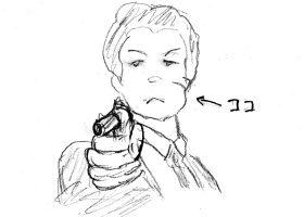 拳銃を犯人に向けるハリー
