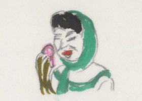どぎつい色のキノコを食べながら「おいしいわよ~」と笑いかける麻美。