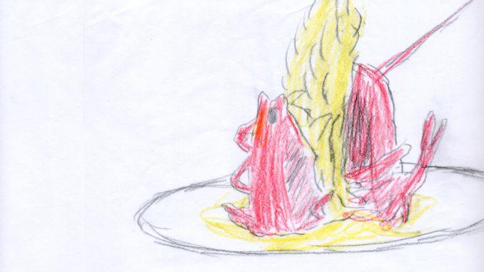 ロブスターとエビのシャンパン・ソース バニラ風味