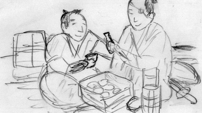石松は三十石船で乗り合わせた江戸っ子に酒とすしを勧める