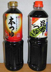 めんつゆの商品例。めんつゆは1lサイズもよく売れている。
