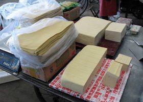 中国の市場の豆腐店