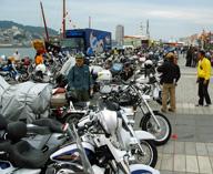長崎ハーレーフェスティバルに集まったオートバイ